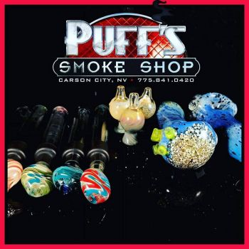 Puffs Smoke Shop Carson City, Custom Glass by Boomtown Glass