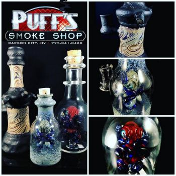 Puffs Smoke Shop Carson City, Custom Glass by Jeff Berning