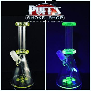 Puffs Smoke Shop Carson City, JimBrown Glow in the Dark Glass Bong